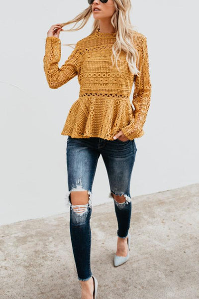 Crew Neck  Hollow Out Plain  Blouses
