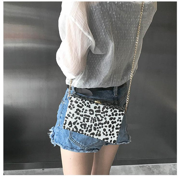 PU Leopard Print Small Square Box Lock Chain Female Bag