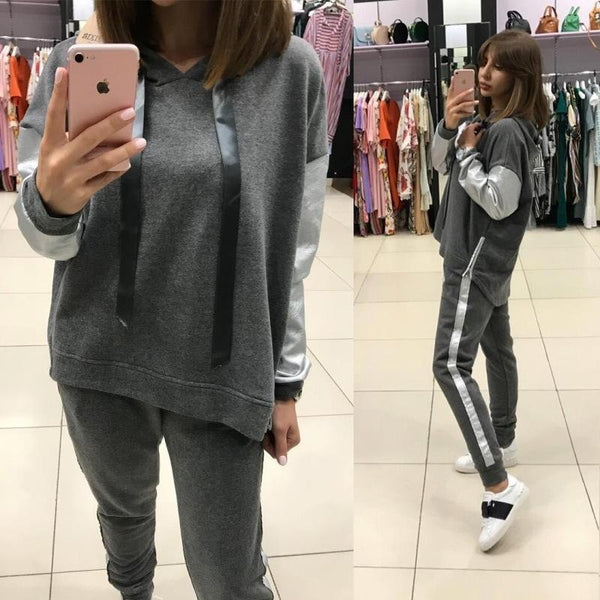 Street Casual Loose Spelling Hoodie Trousers Two-Piece Set