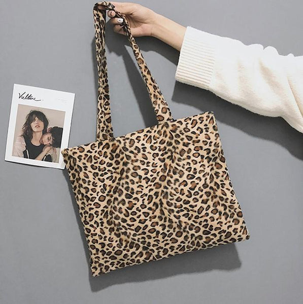 Plush Leopard Print Simple Large Capacity Single Shoulder Cross Female Bag
