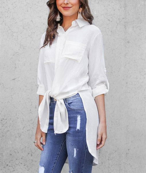 Pure Color Slit - Length Long Sleeve Shirt