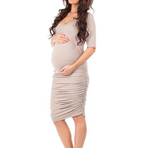 Fashion Solid Color Short Sleeve Maternity Dress