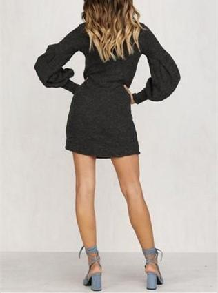 Pure Color Knit   Sweater Mini Dresses With Stand-Up Collar And Lantern Sleeves