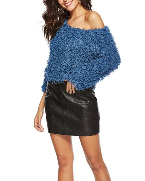Pure Color Sexy Round   Neck Long Sleeve Knitted Plush Top