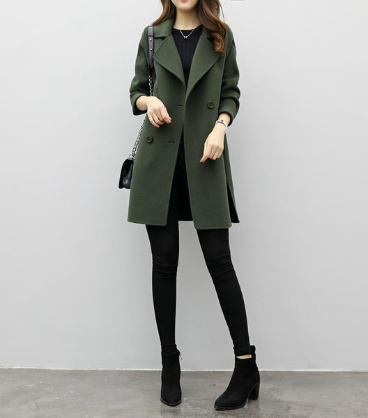 Pure Color Medium Long   Double Breasted Woolen Coat