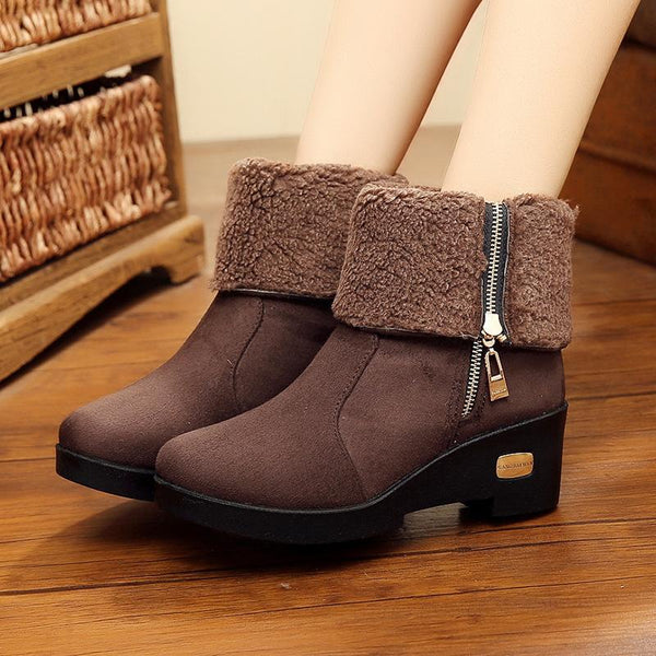 Side Zipper Flanged Snow Boots Thickened Velvety Warm Boots