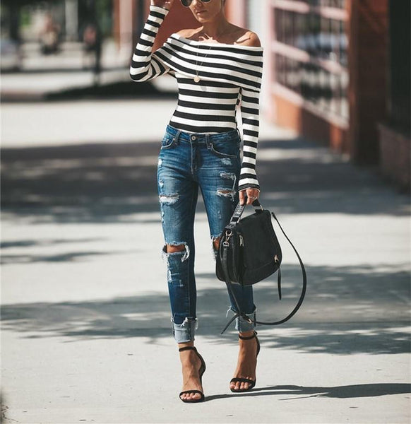 Sexy A Knit Top With   An Off The Shoulder Stripe