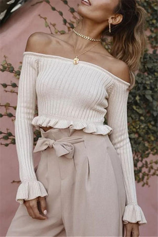 Pure Color Sexy Short Shoulder Sweater Knit Top