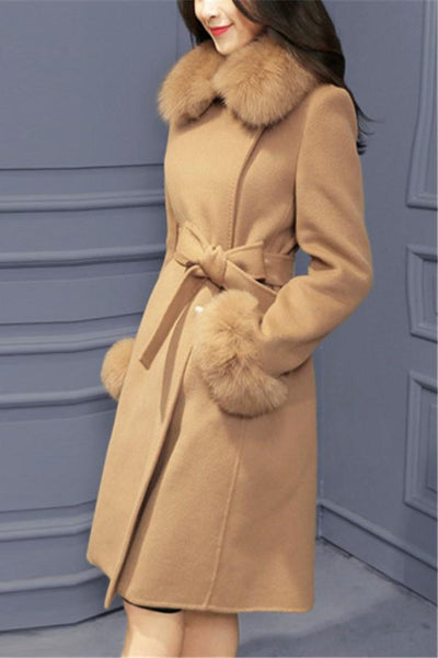 Pure Color Fashionable Downy Collar Tie Belt Girdle Wide Woolen Overcoat