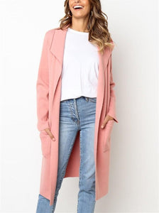 Pure Color Slim Long Sleeved Lapel Long Woollen Coat
