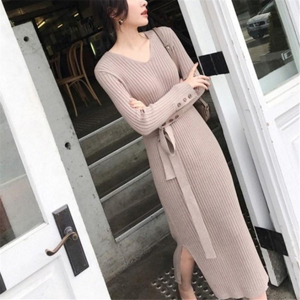Sexy V-Neck Pure Color Pull Back Knitted Forked Maxi Dress