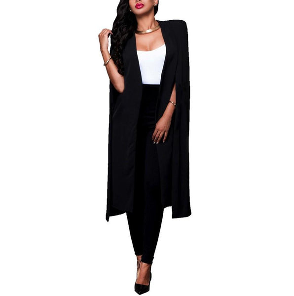 Pure Color Temperament   Long Style Big Cape