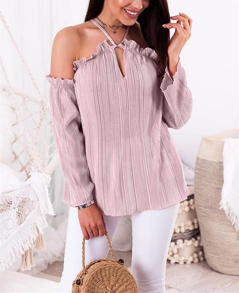 Sexy Fashion Off The Shoulder Long Sleeved Top With Straps T-Shirt