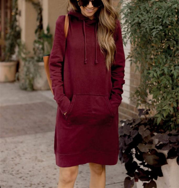 Pure Color Sport Slim Long Hooded Dress