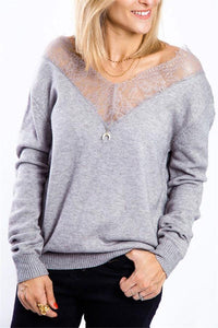 Sexy V Neck Hollow Out Lace Long Sleeve Sweater