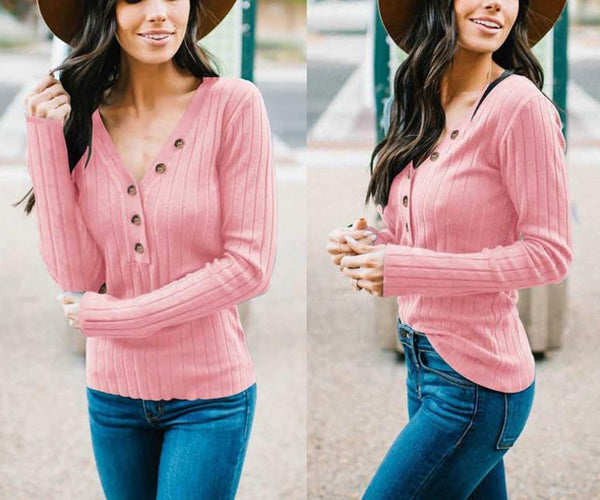 Sexy V-Neck Buttons   Long Sleeve T-Shirt  Blouse