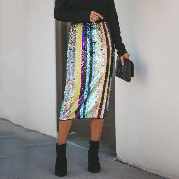 Sexy Scrunched-Up Beaded Skirt With Split Hips