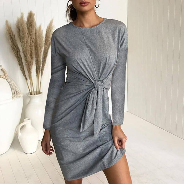Casual Pure Color Sexy   Tie A Bow Mini Dress