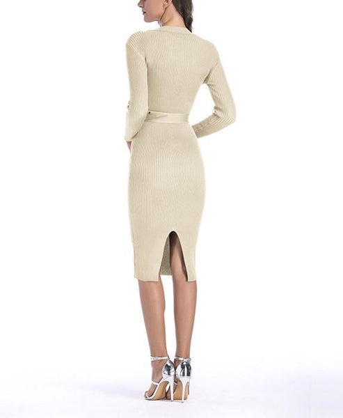Sexy Casual Button   Slim Knit Bodycon Maxi Dress