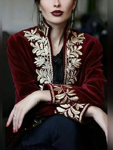 Fashion Floral Pattern Inwrought Long Sleeve Coat