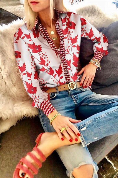 Fashion printing long-sleeved blouses