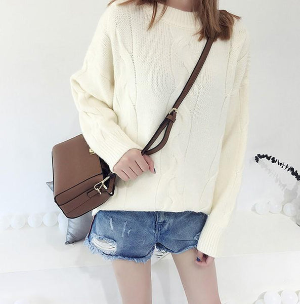 Pure Color Loose Long   Sleeve Casual Knit Sweater