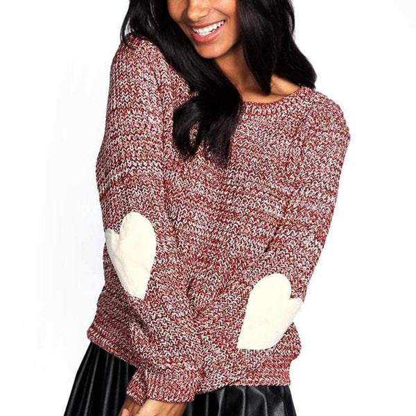 Pure Color Loose Longs   Leeved Elbow Love Patch Knitted Sweaters