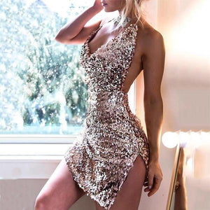 Sequined Sling Open Back Split Slim Bodycon Dress