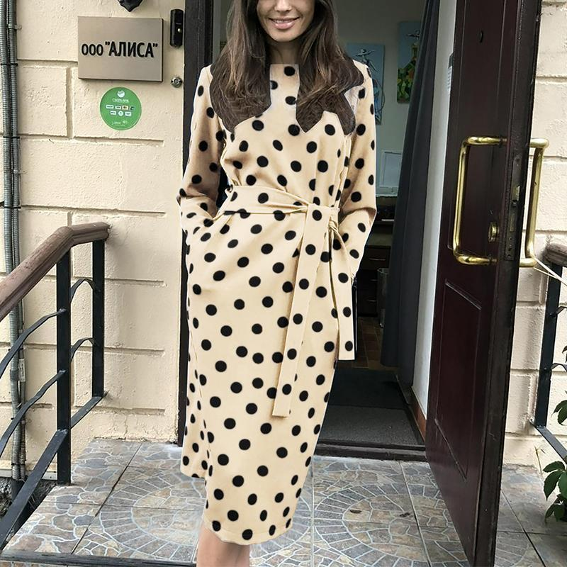Casual Polka Dot Waist Belted Long Sleeve Dresses