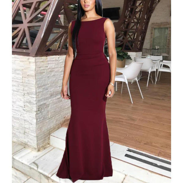 Sexy Bare Back Sleeveless Pure Colour Fishtail Dresses