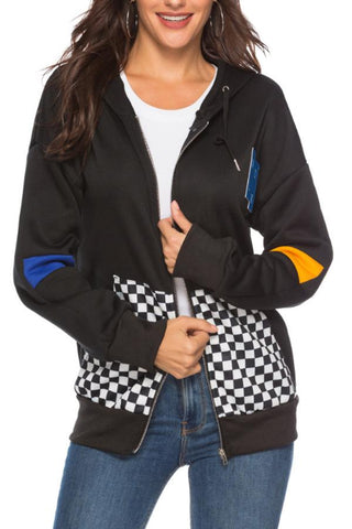 Hooded  Drawstring  Patchwork Jackets