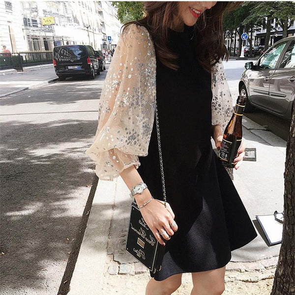 Fashion Splicing Long Sleeve Round Neck Knitted Dresses