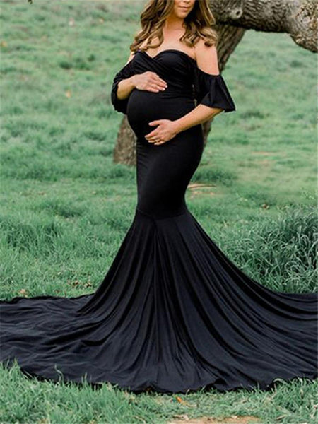 Maternity strapless solid color dress