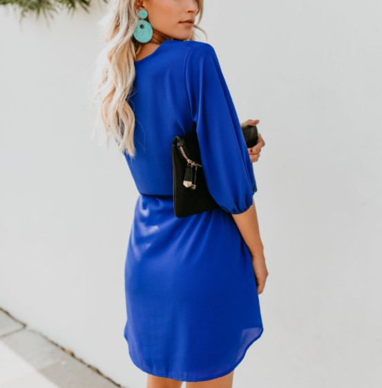Sexy V-Neck Lantern   Pocket Skirt