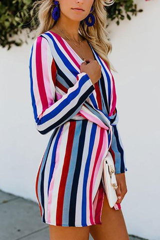 Casual V Neck Striped Pleat Mini Dresses