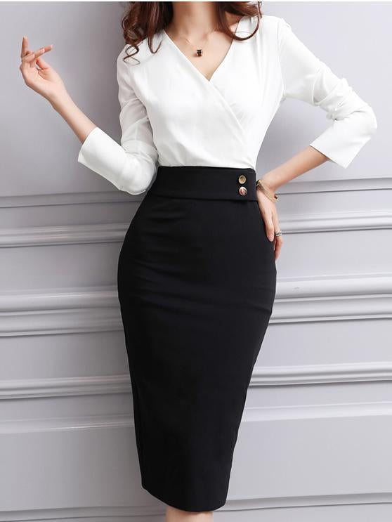 Surplice  Slit  Decorative Button  Colouring Bodycon Dress