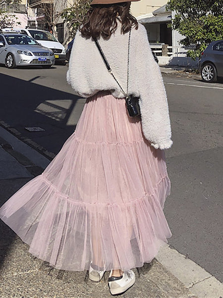 Fashion Splicing Gauze Long Bubble Skirt