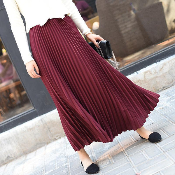 Fashion Pure Color Slim Show Thin High Waist Pleated Skirt