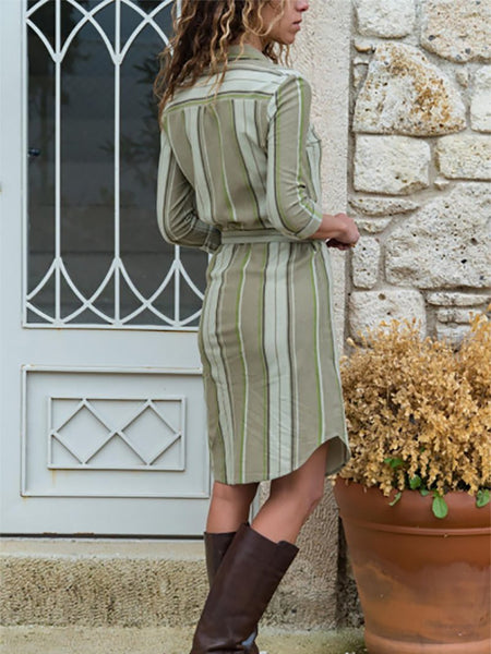 Casual Turndown Collar Long Sleeve Striped Dresses
