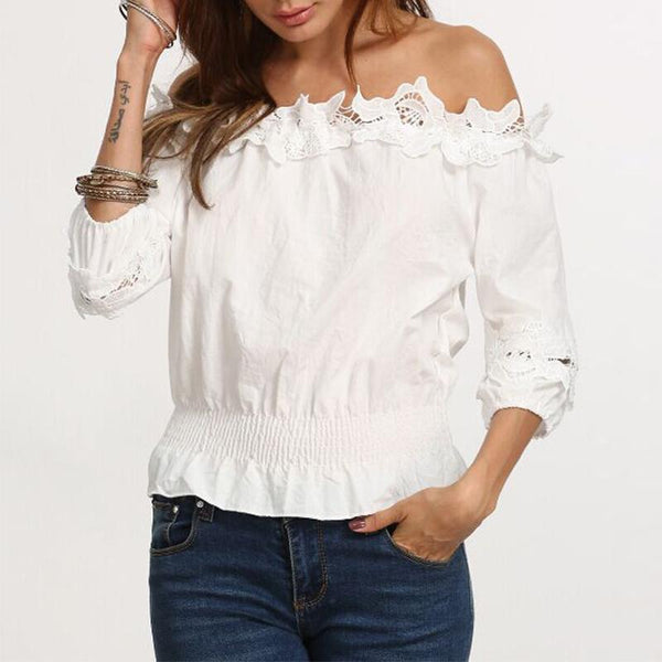 3/4 Sleeve Plain Lace Patchwork Off Shoulder Blouses