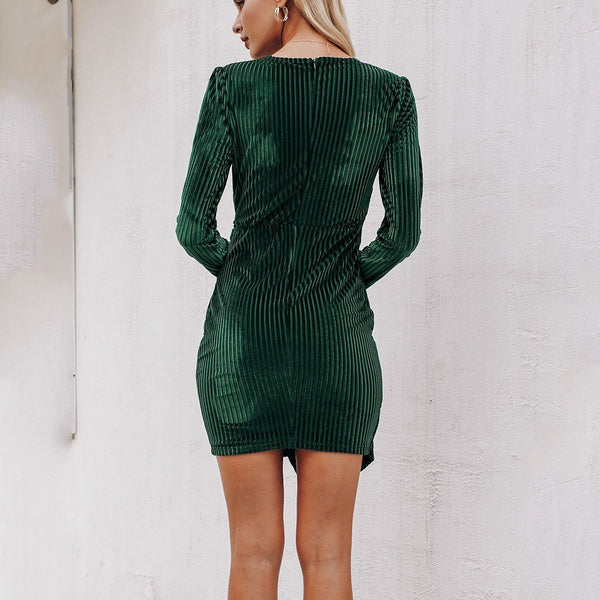 Sexy Deep V Collar Plain Defined Waist Bodycon Dress