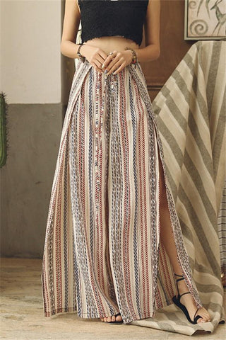 Fashion Slim Show Thin   Bohemian Holiday Style Printing Wide Leg Pants