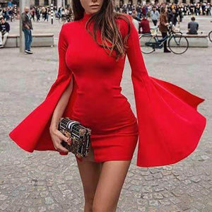 Sexy High Collar Slit Bell Sleeve Bodycon Dresses