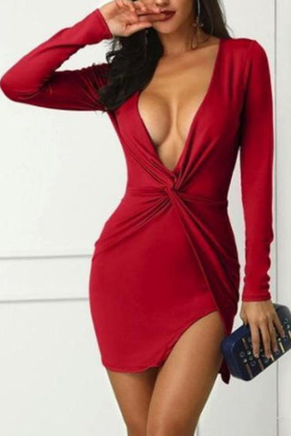 Sexy V-Neck Irregular   Long-Sleeved Hip Dress