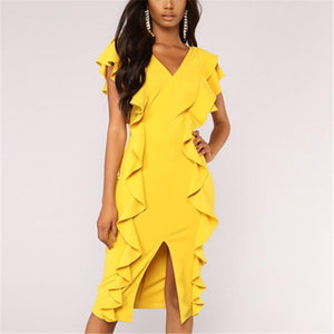 Casual Sexy V Neck   Pure Color Falbala Maxi Dresses