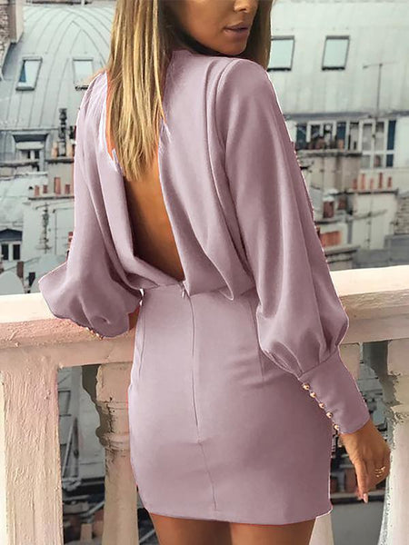 Casual Bare Back Hollow Out Long Sleeve Bodycon Dresses