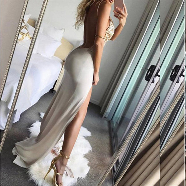 Sexy V Neck Sequined Sling Evening Dress