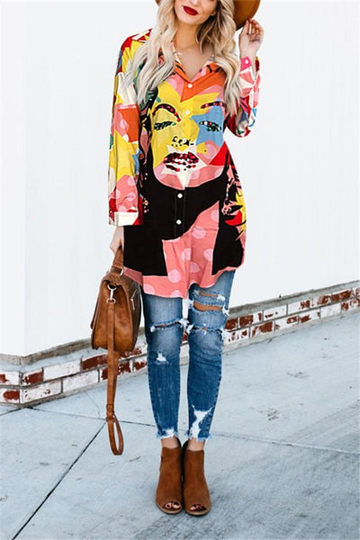 Casual Loose Long Sleeve 3D Graffiti Printing Shirt