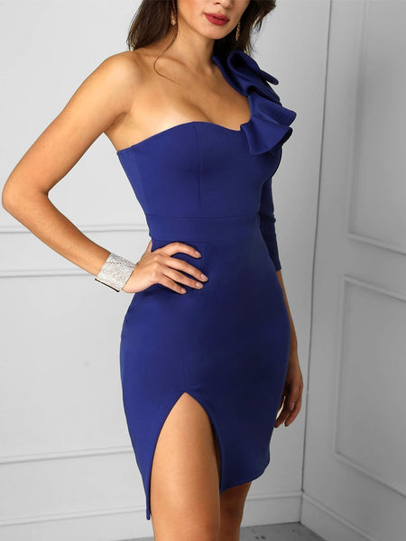 Sexy Sloping Shoulder Slit Evening Dress