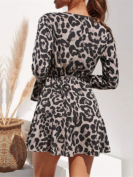 Sexy V Neck High-Waist Belted Leopard Print Mini Dresses